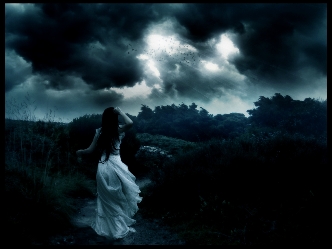 darkness running girl stormy HD Wallpaper