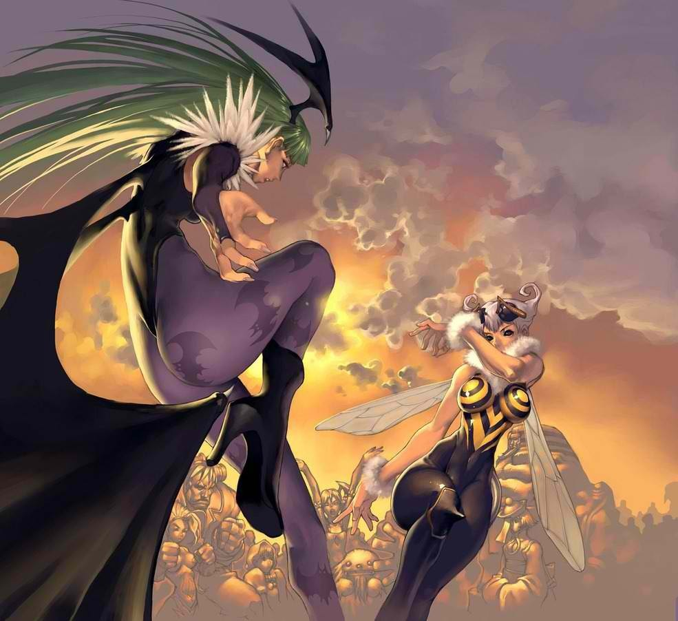 Darkstalkers Morrigan Aensland Q-Bee HD Wallpaper