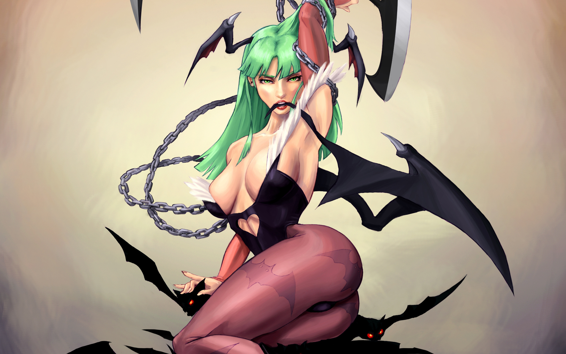 Darkstalkers woman wings green HD Wallpaper