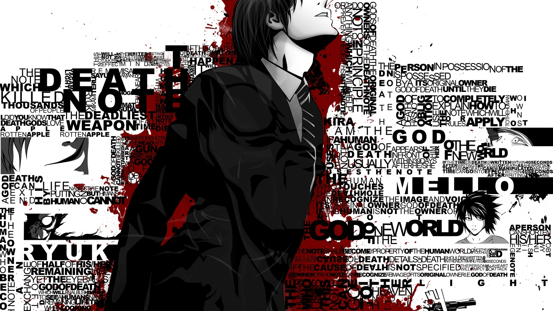 death note Typography Yagami HD Wallpaper