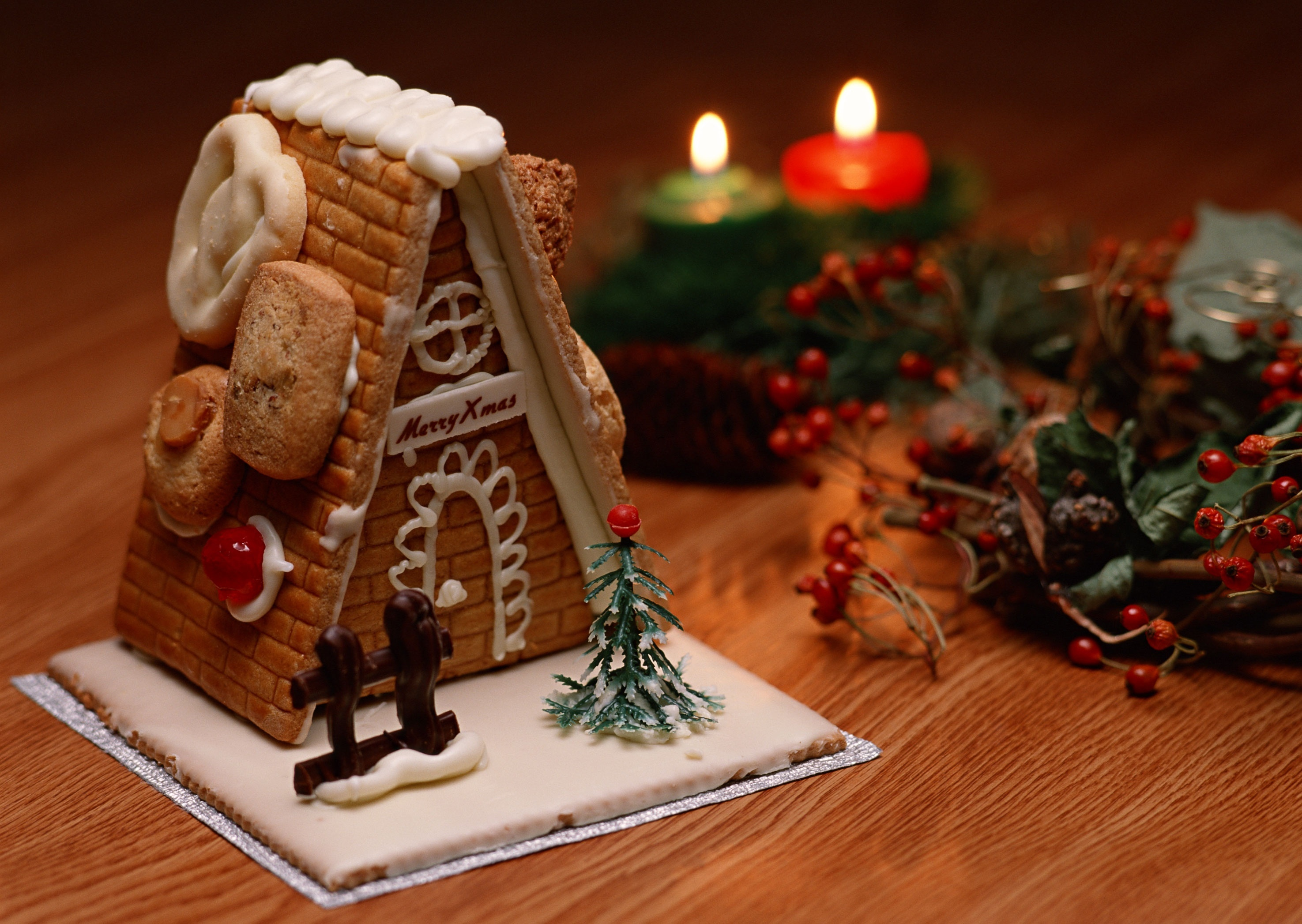 desserts Christmas Cookies Candles HD Wallpaper