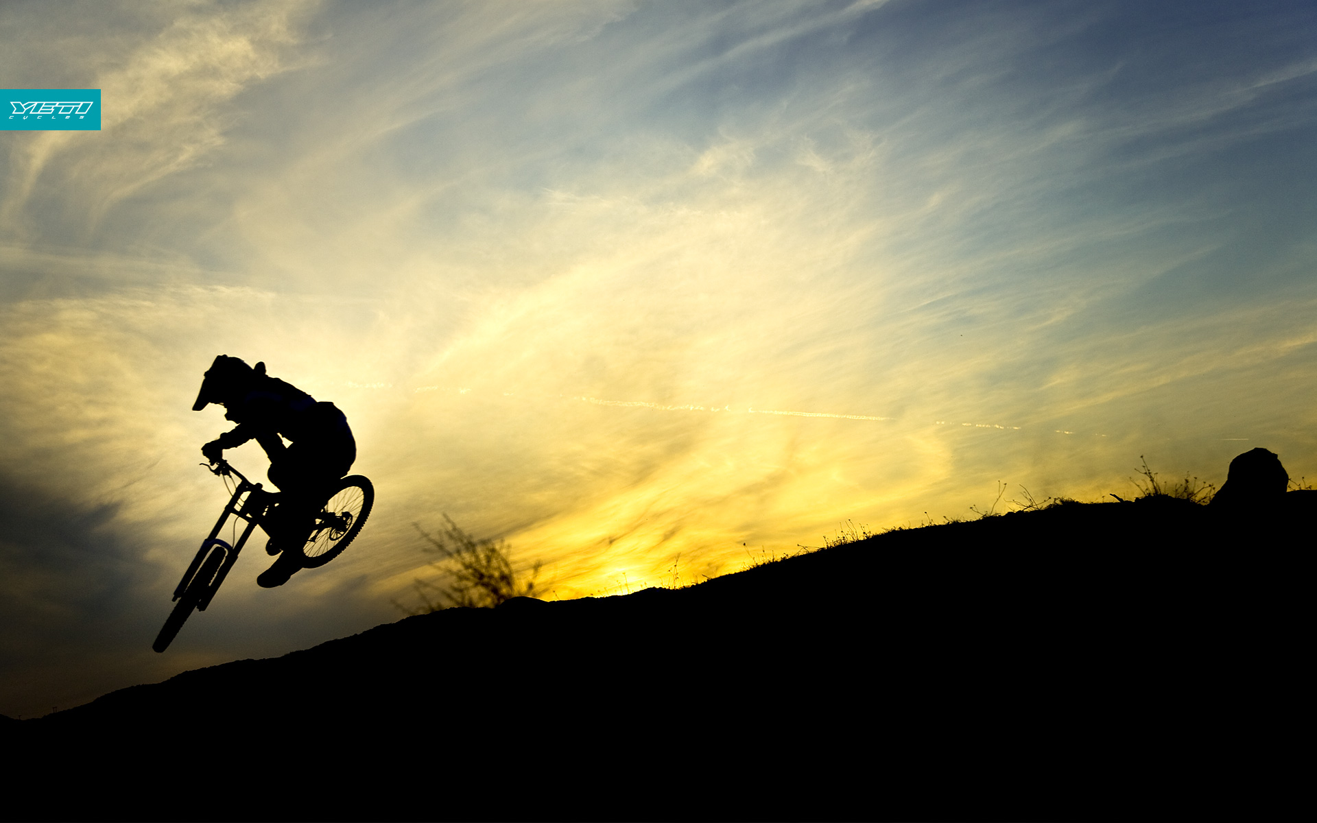 downhill sunset Bicycles silhouettes