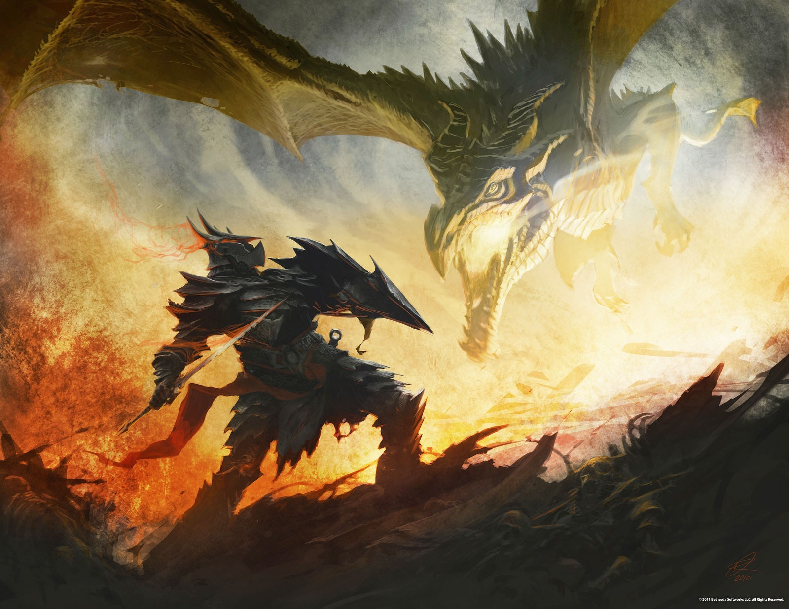 Dragons armor the elder scrolls v skyrim HD Wallpaper