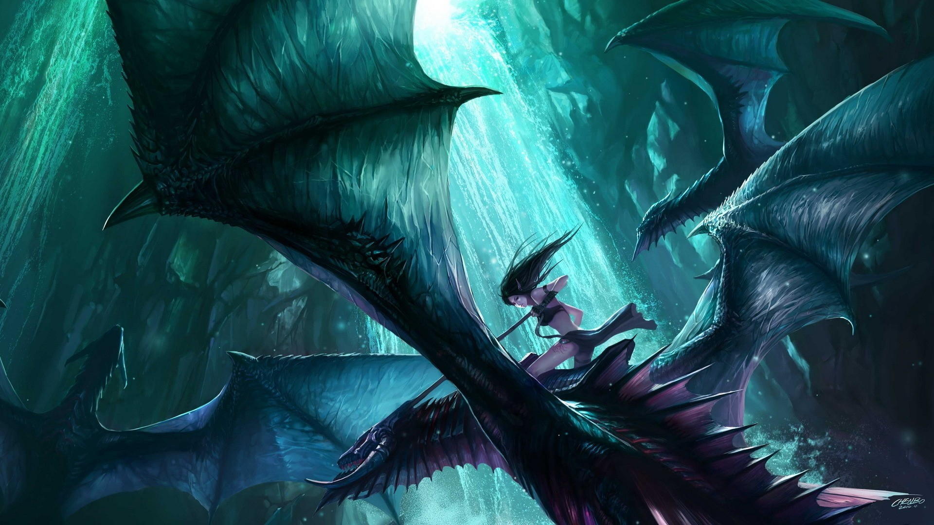 Dragons fantasy art elves HD Wallpaper