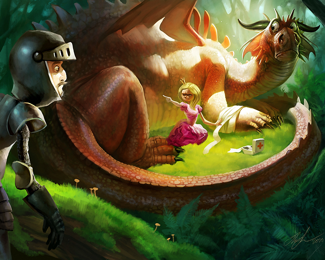 Dragons Knights Princess funny HD Wallpaper