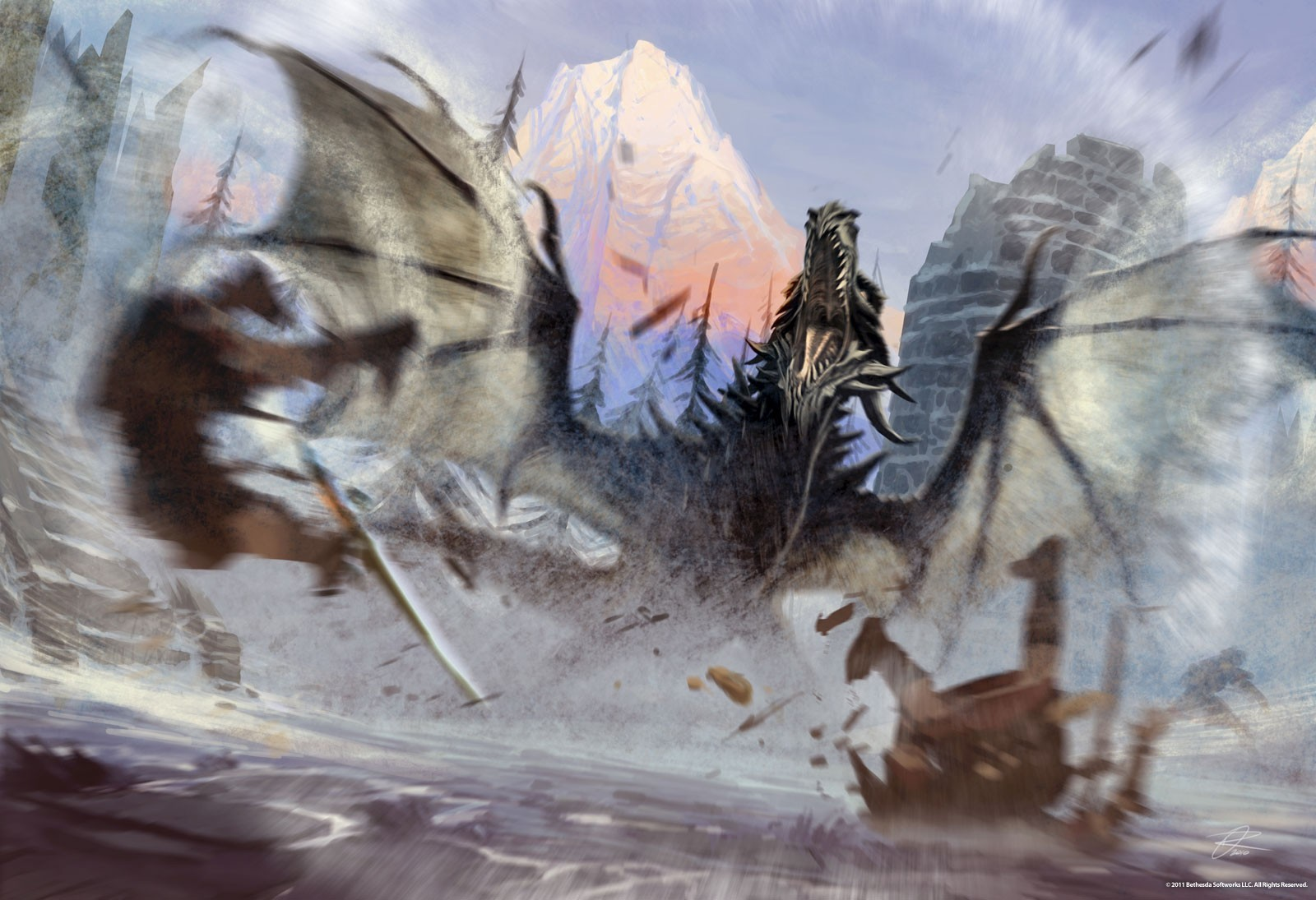 Dragons the elder scrolls v skyrim artwork HD Wallpaper