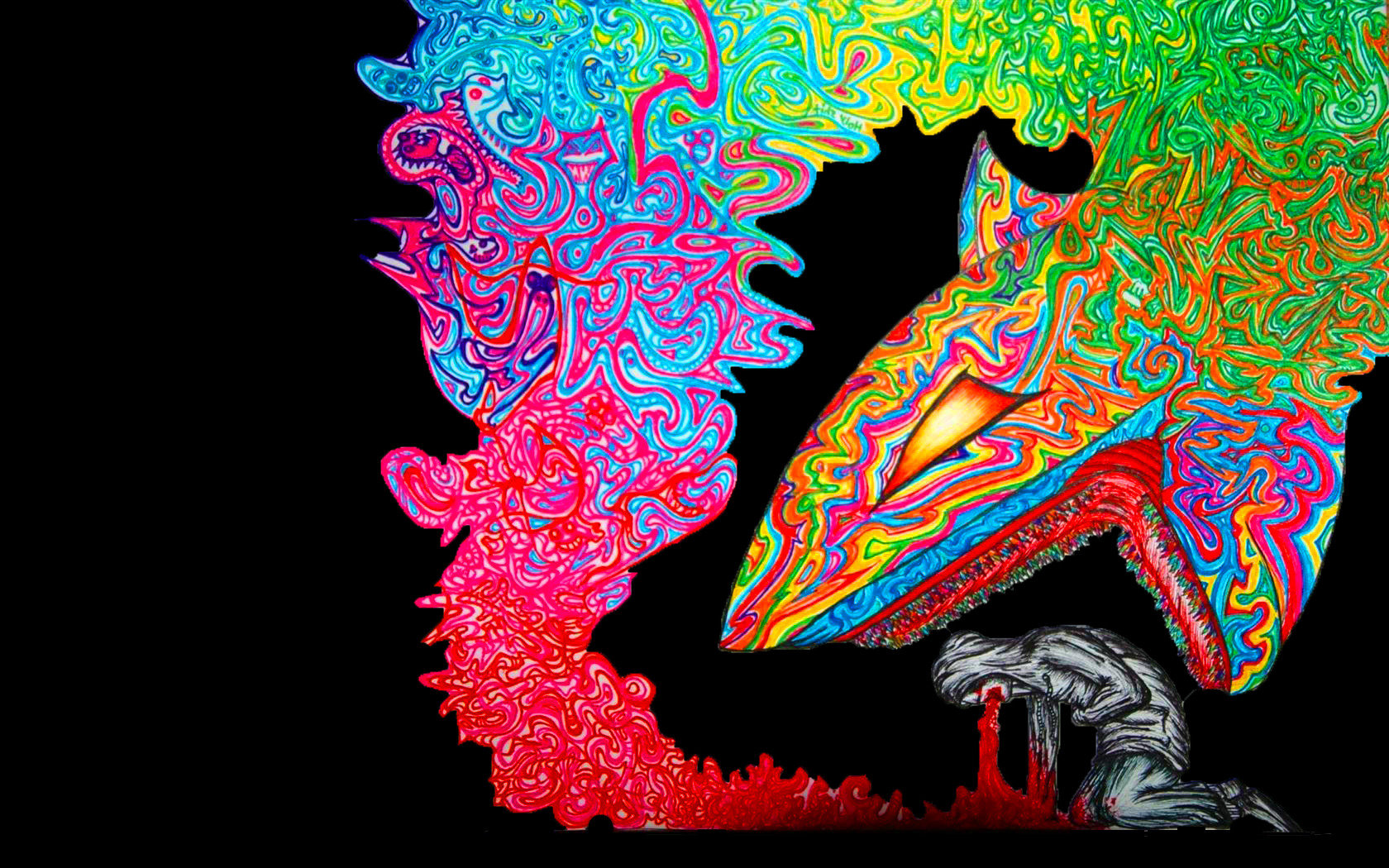 drawings kneeling Sharks psychedelic HD Wallpaper