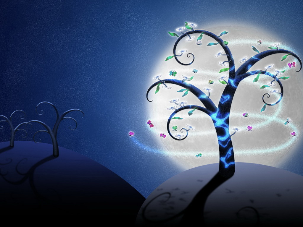 Drawn tree for butterfly HD Wallpaper