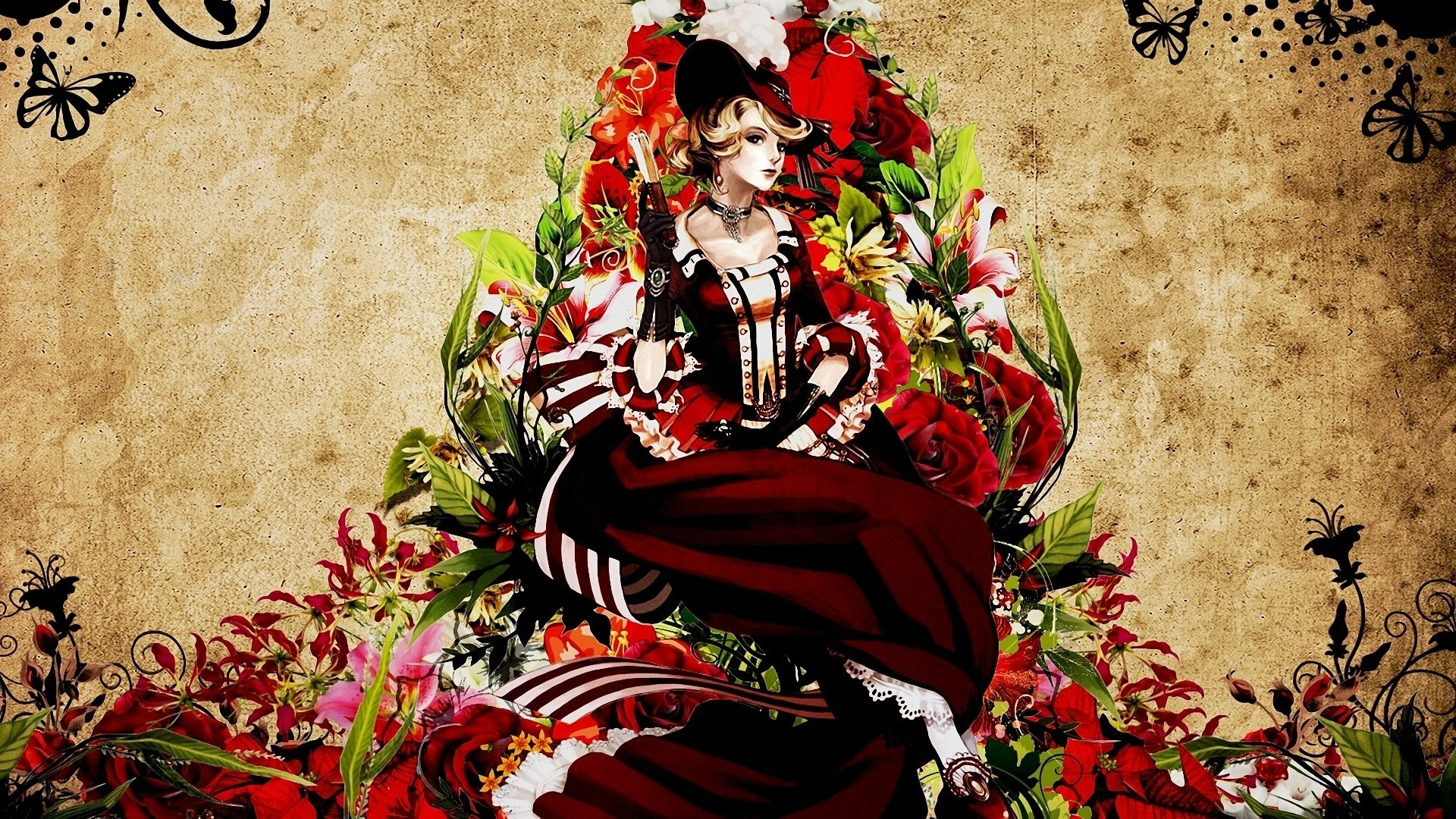 dress Flowers patterns steampunk HD Wallpaper