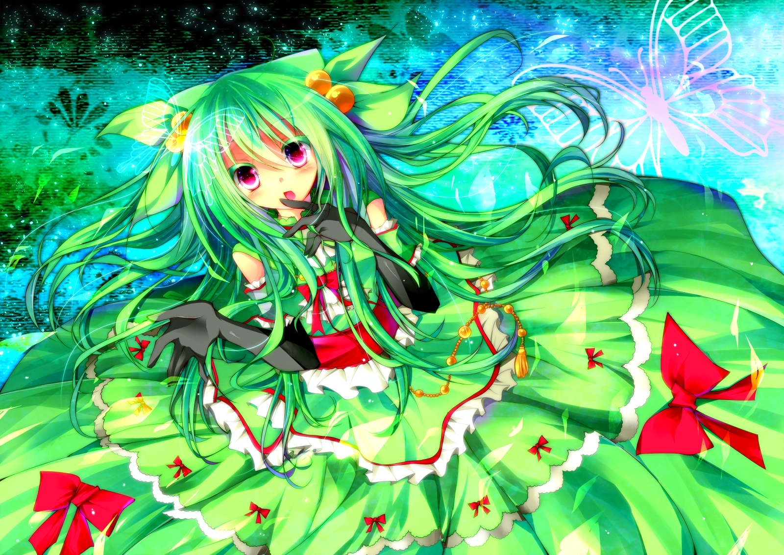 dress gloves Green hair HD Wallpaper
