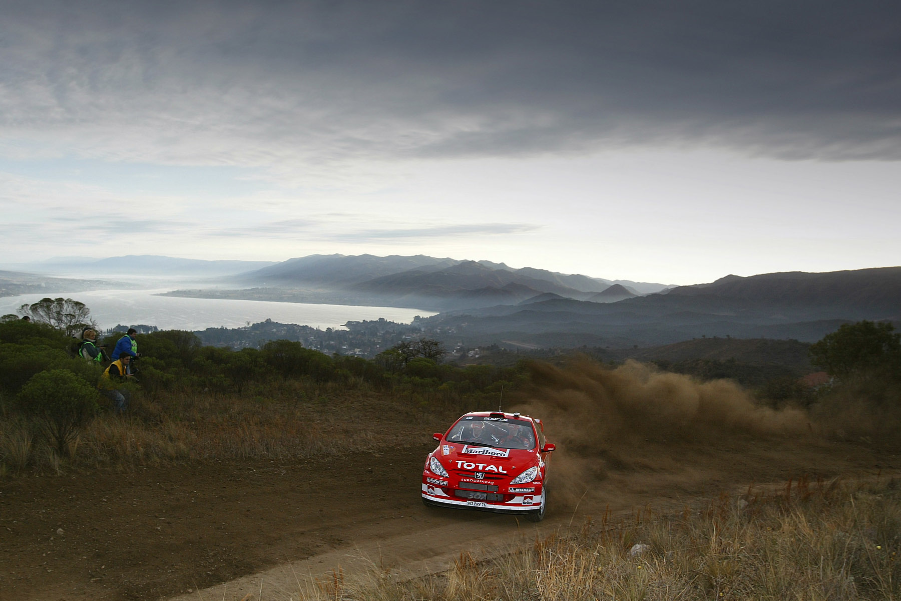 dust Peugeot red cars HD Wallpaper