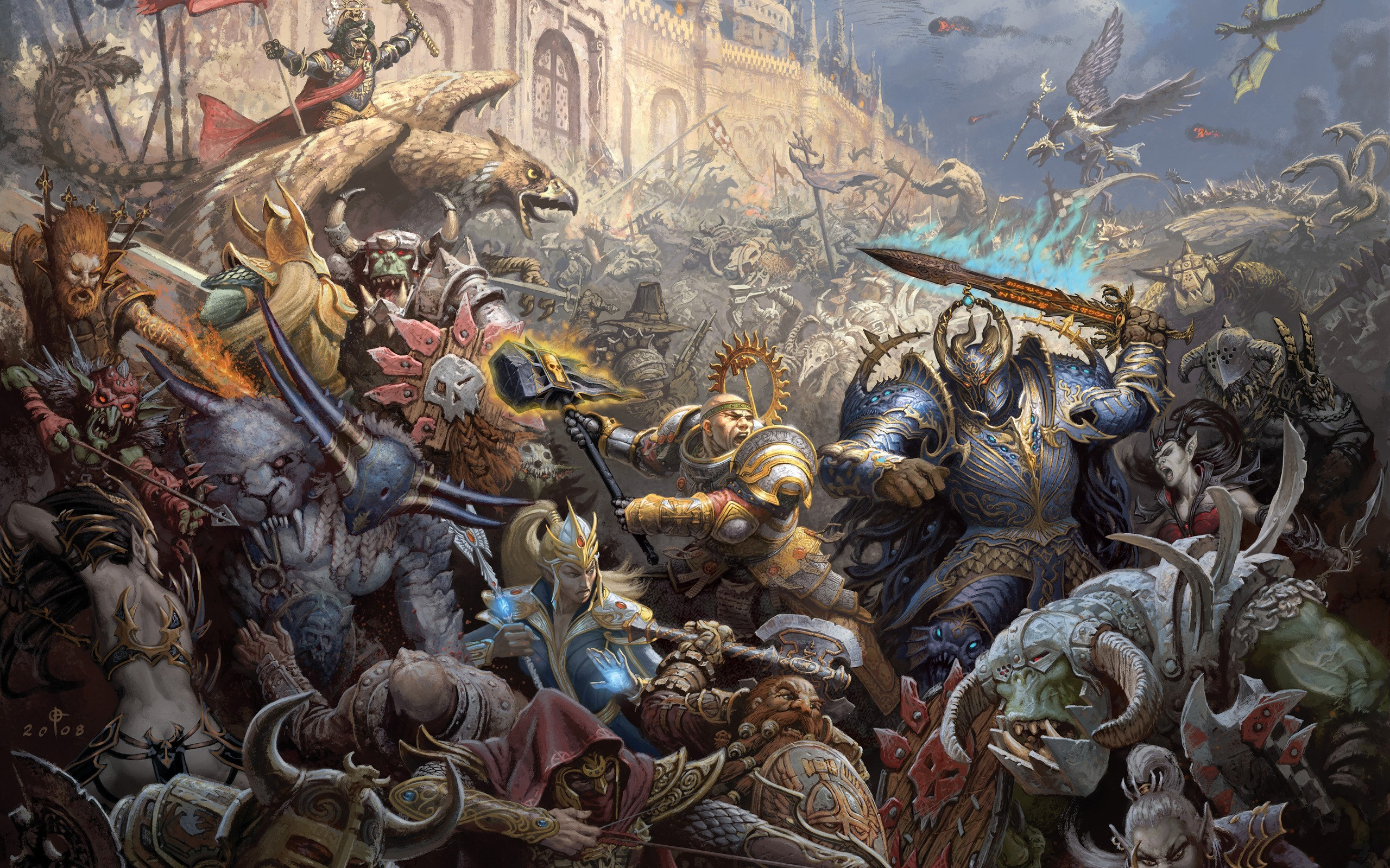 dwarfs battles Orcs artwork HD Wallpaper