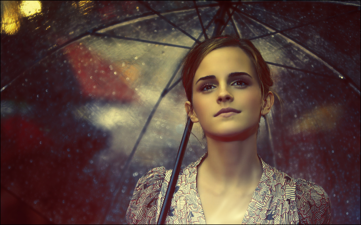 Emma Watson rain Umbrellas HD Wallpaper