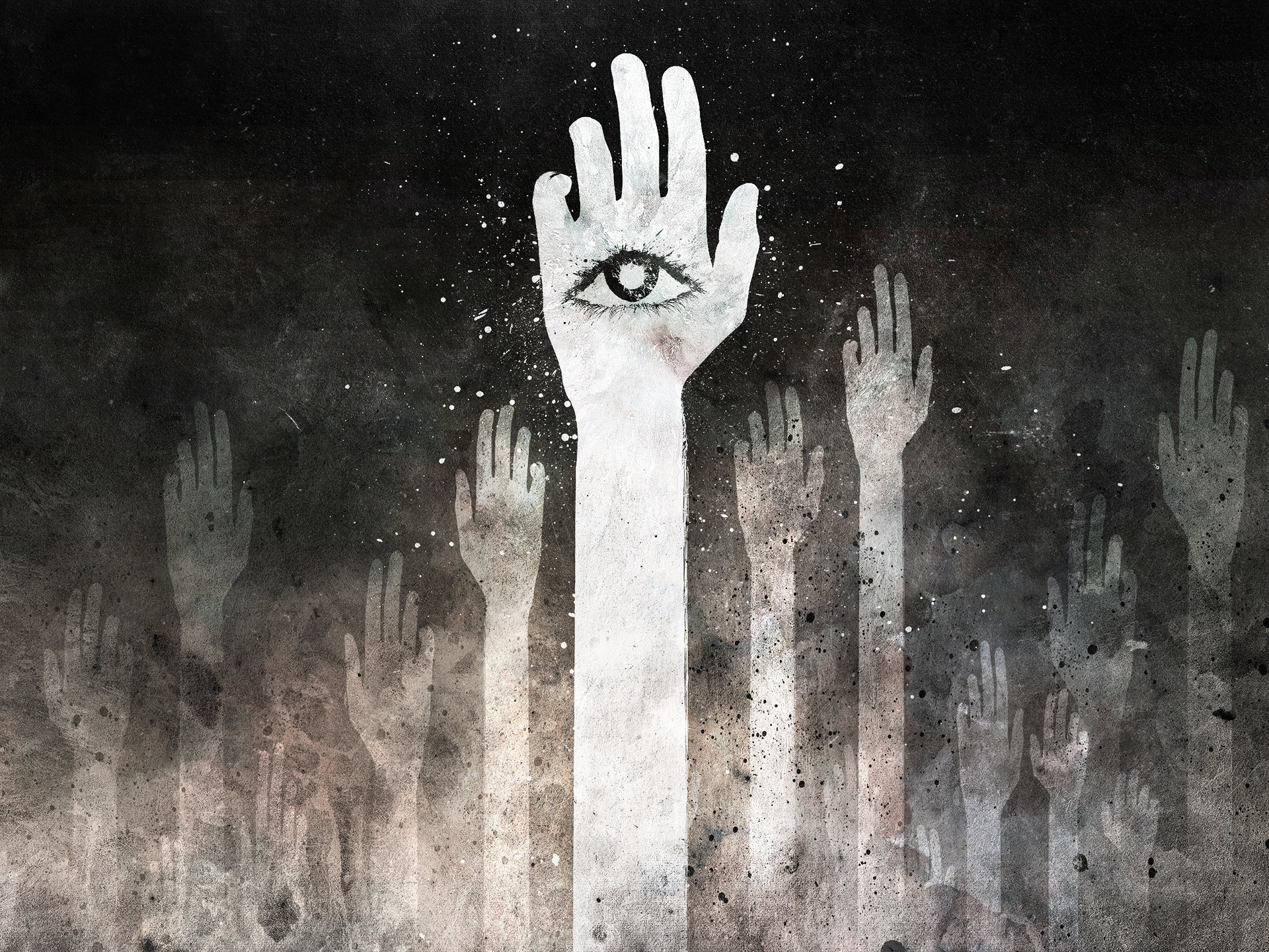 eyes resistance hands grayscale HD Wallpaper