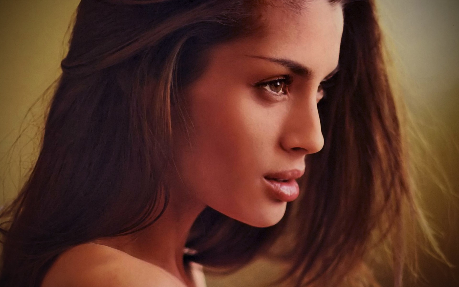 faces side view brunettes HD Wallpaper