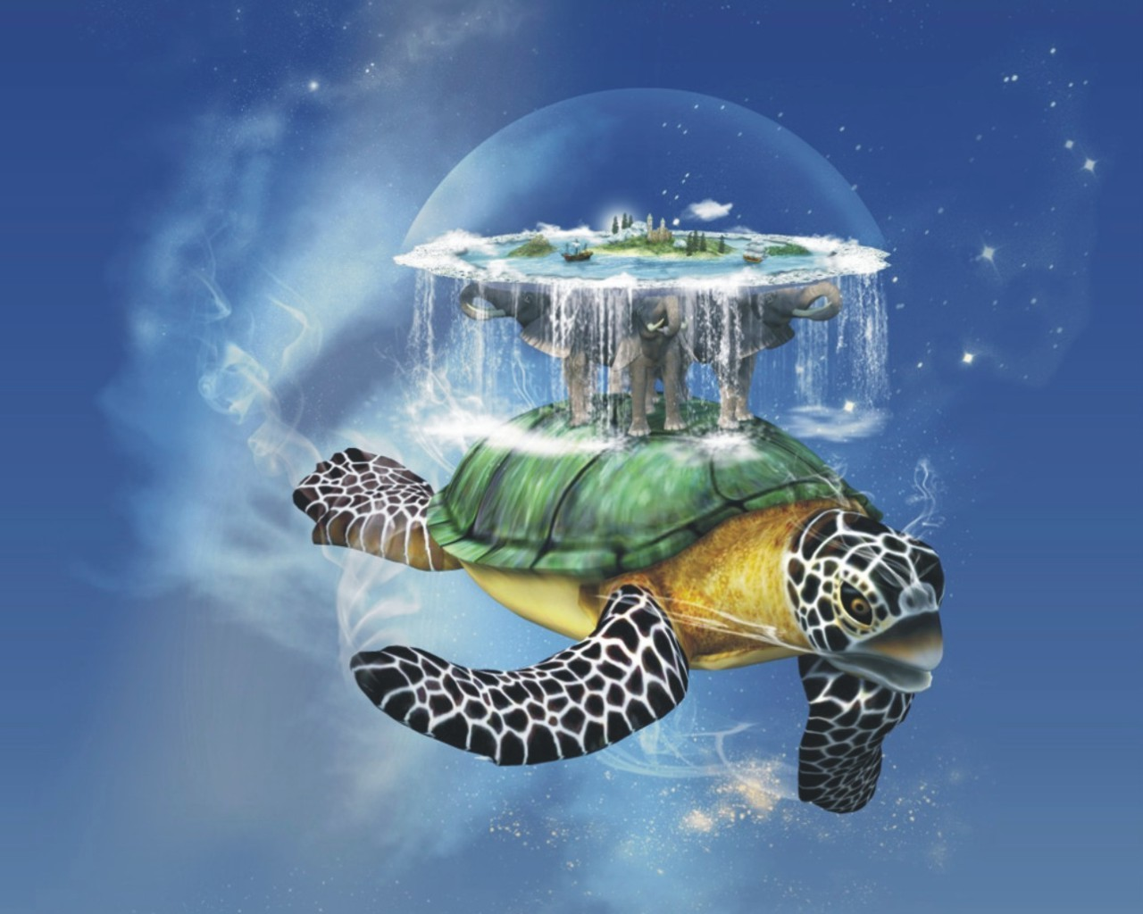 fantasy Animals turtles discworld HD Wallpaper