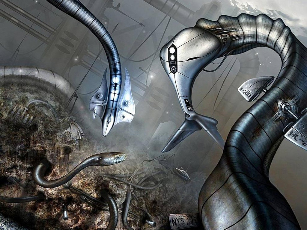 fantasy cityscapes Robots snakes HD Wallpaper
