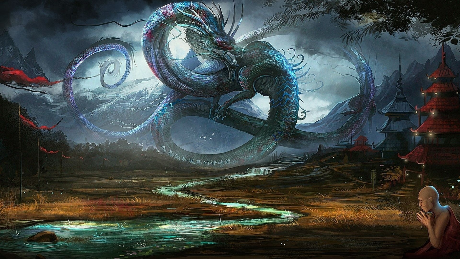 fantasy Dragons Chinese creatures HD Wallpaper
