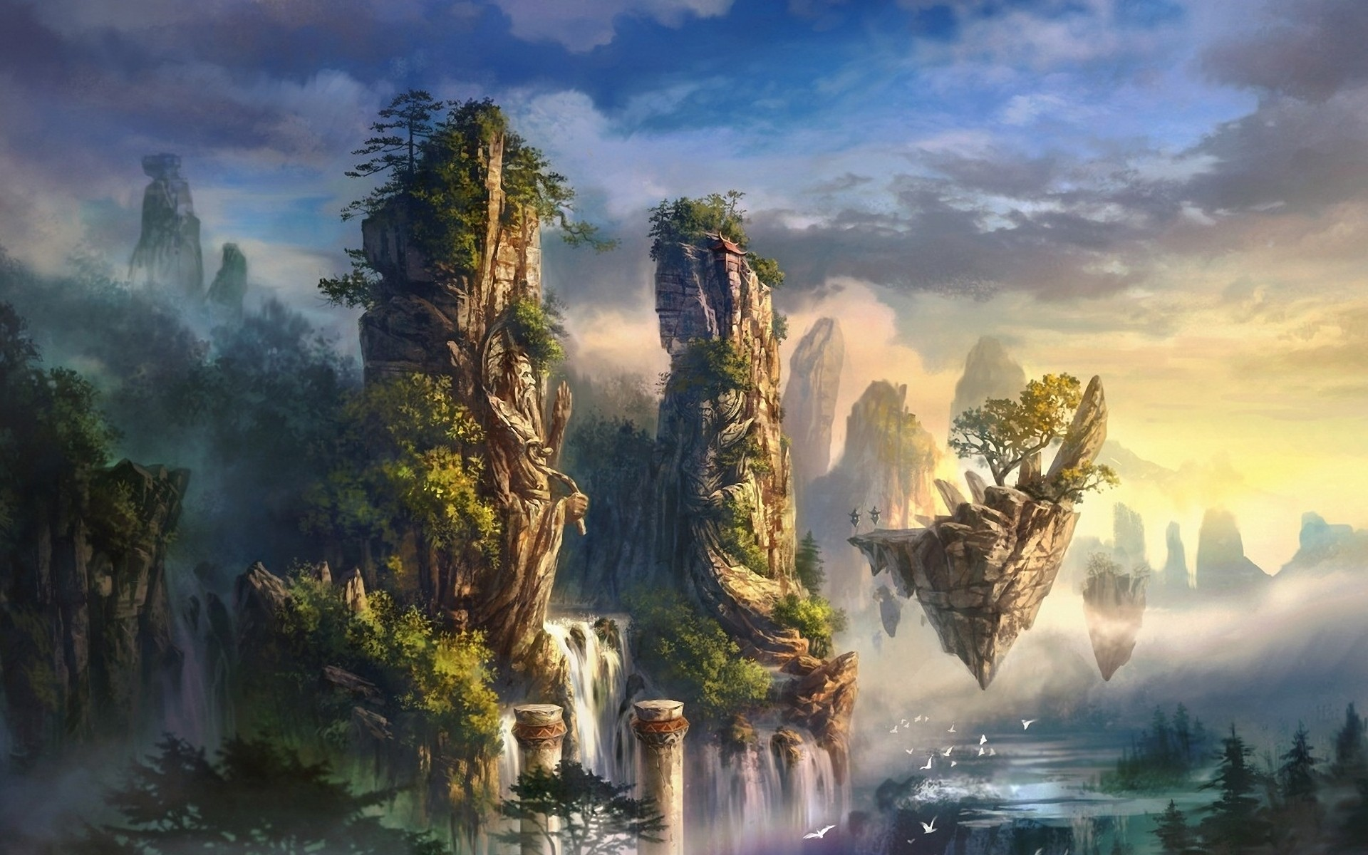 fantasy floating artwork hover HD Wallpaper
