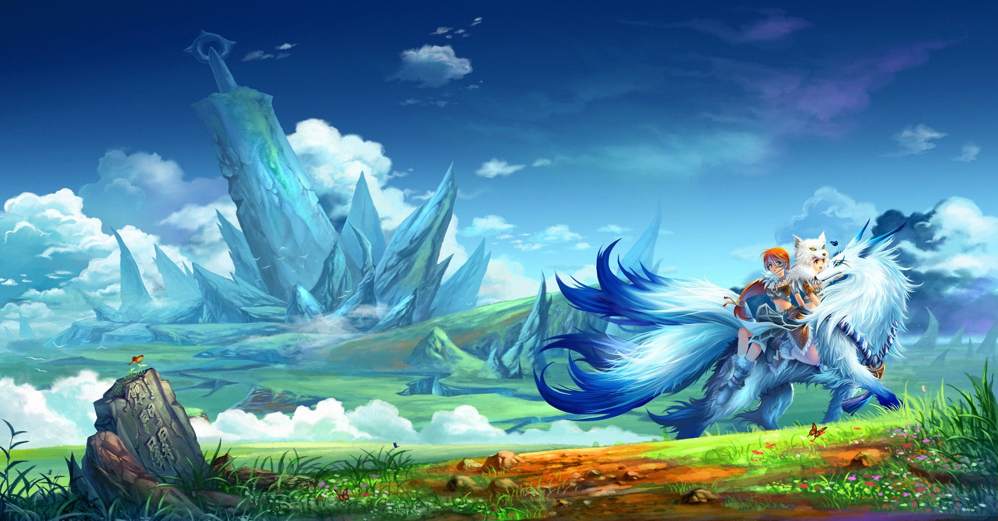 fantasy Landscapes creatures Anime HD Wallpaper