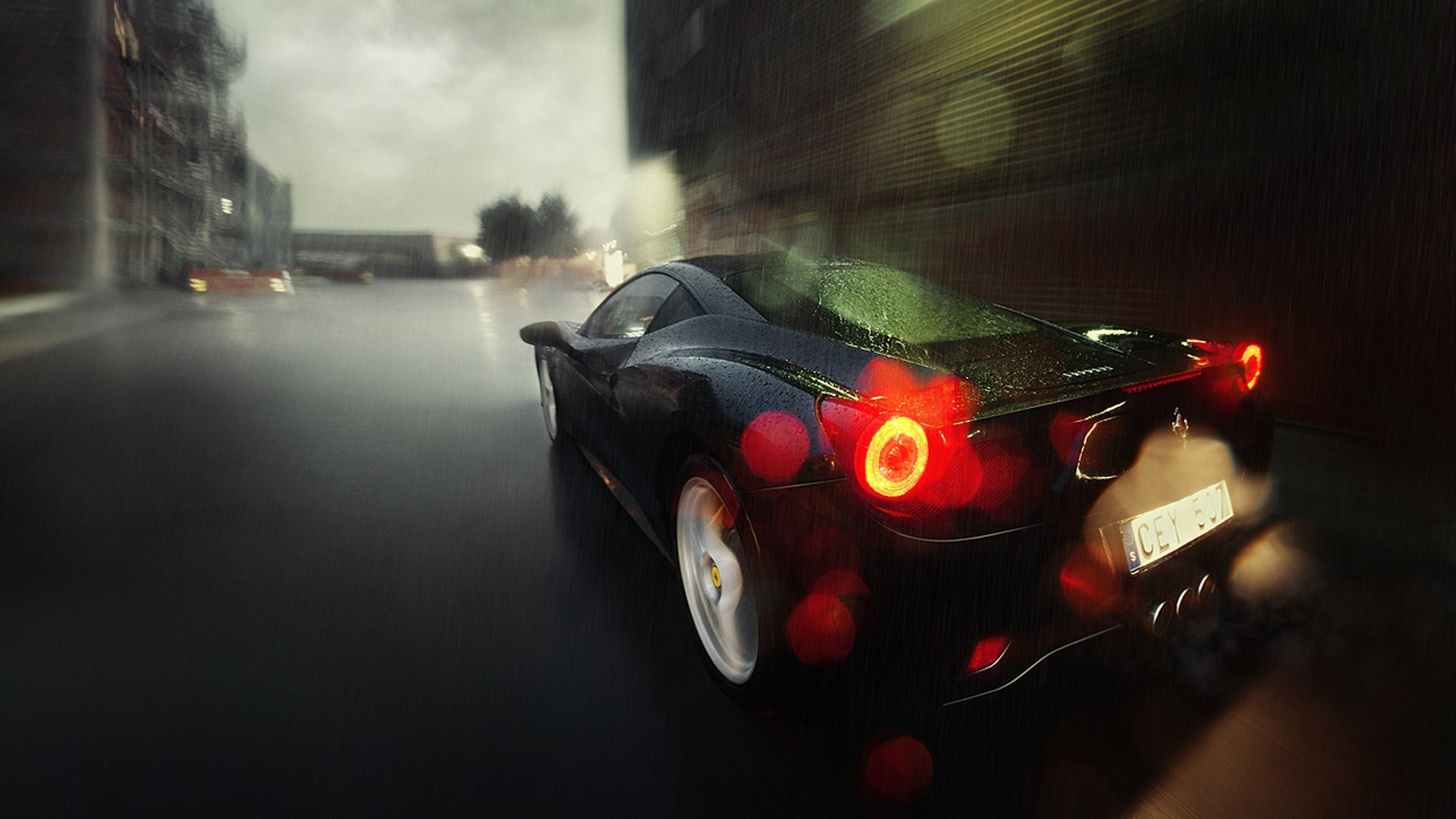 ferrari 458 italia rain HD Wallpaper