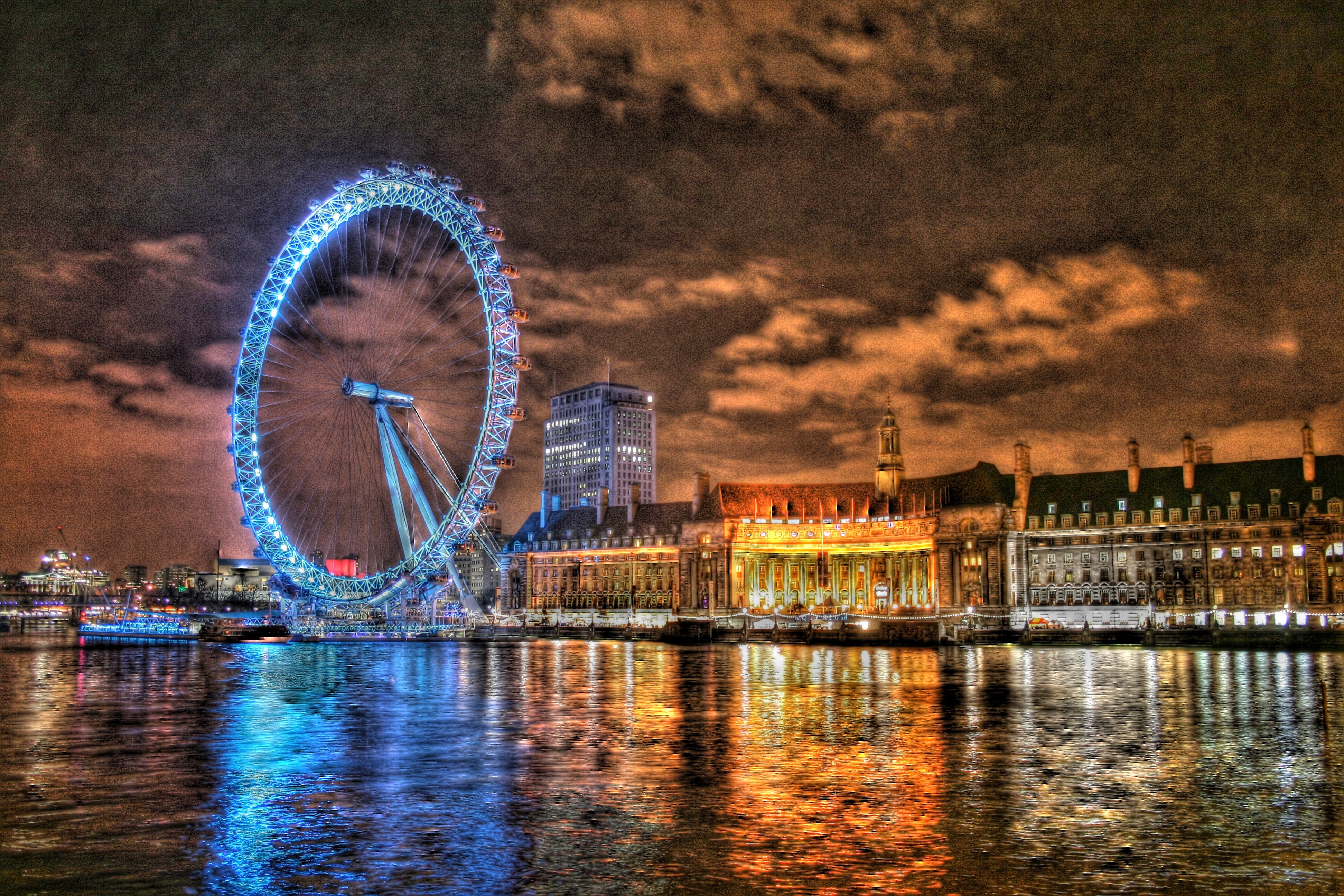 ferris wheels HDR Photography HD Wallpaper