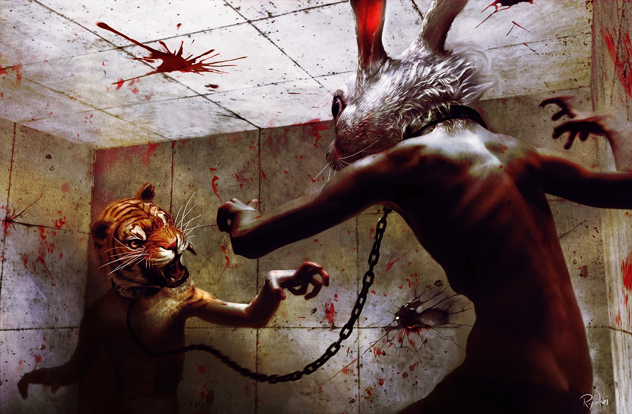 fight rabbits battles paintings HD Wallpaper