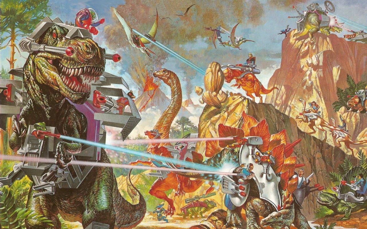 Fighting Dinosaurs Lasers HD Wallpaper