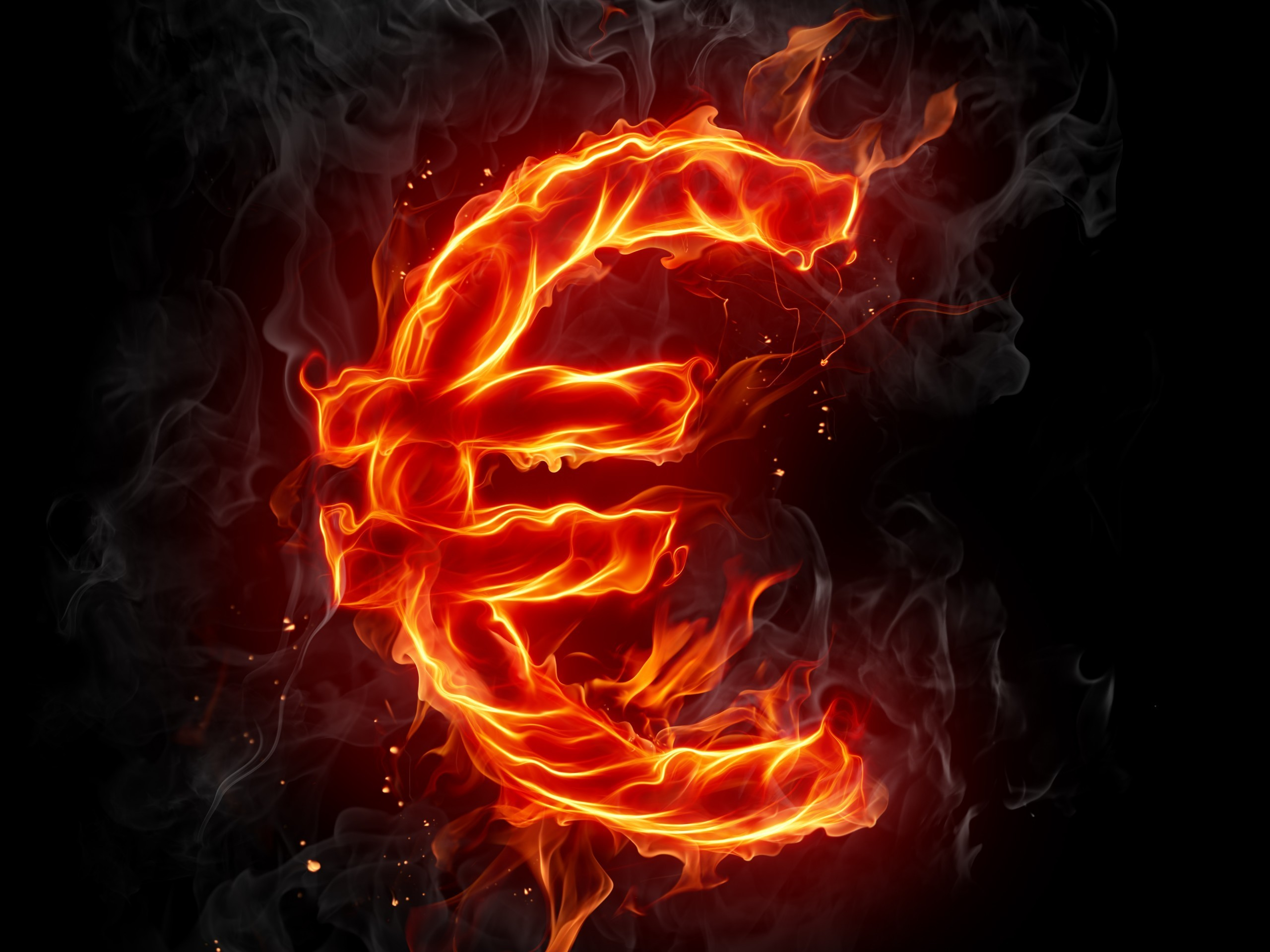 fire Typography Europe Euro HD Wallpaper