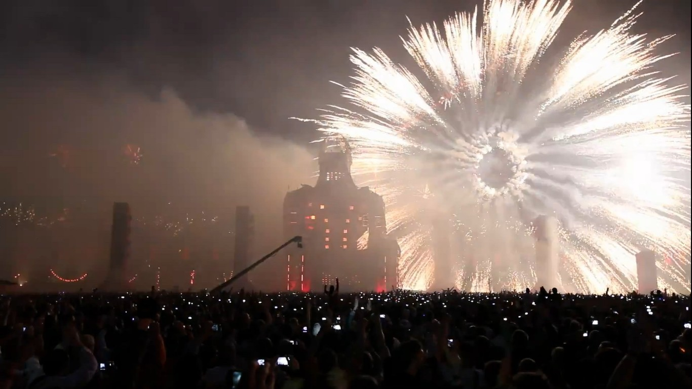 fireworks Techno party festival HD Wallpaper