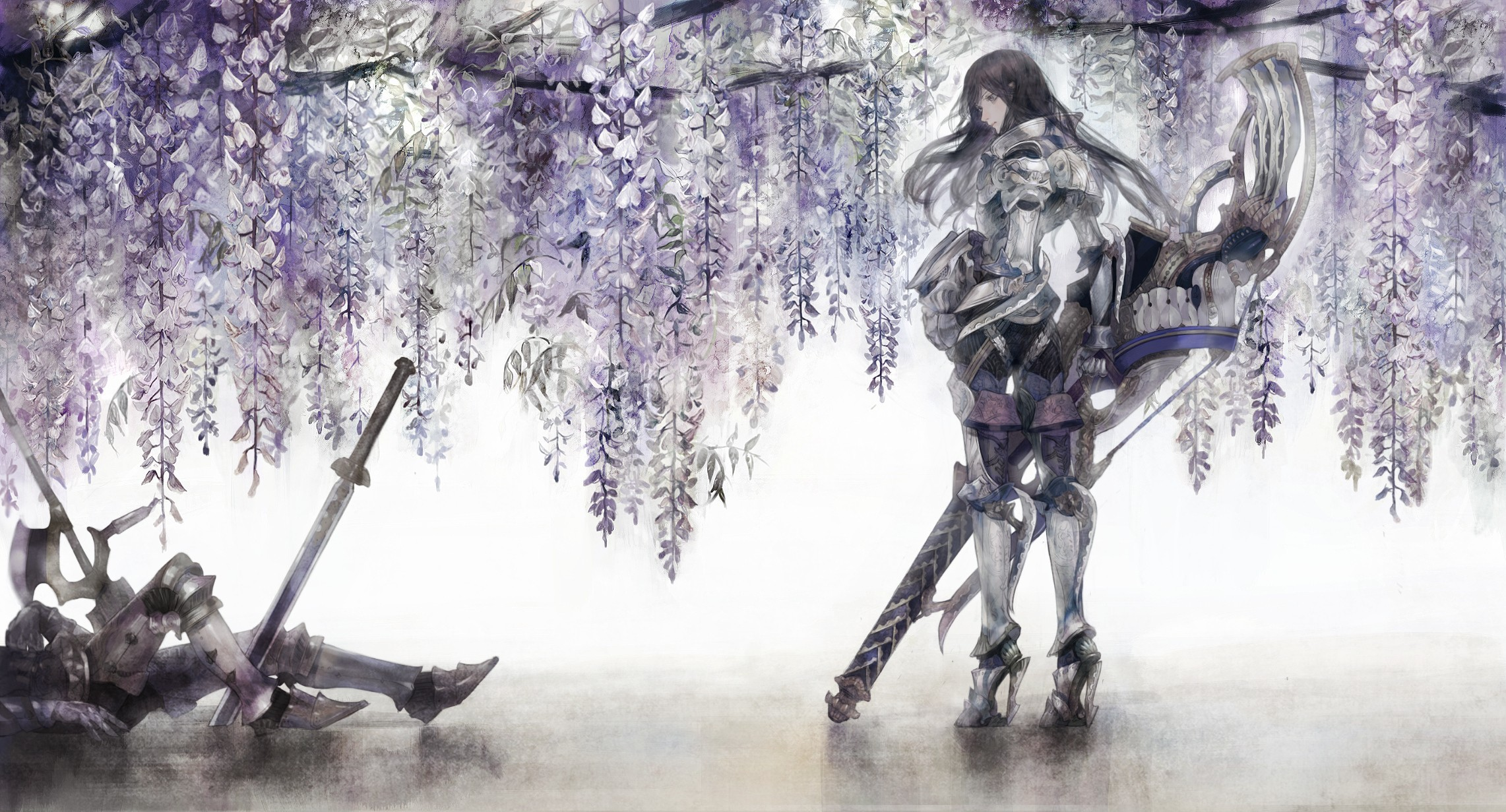 Flowers armor halberd polearm HD Wallpaper