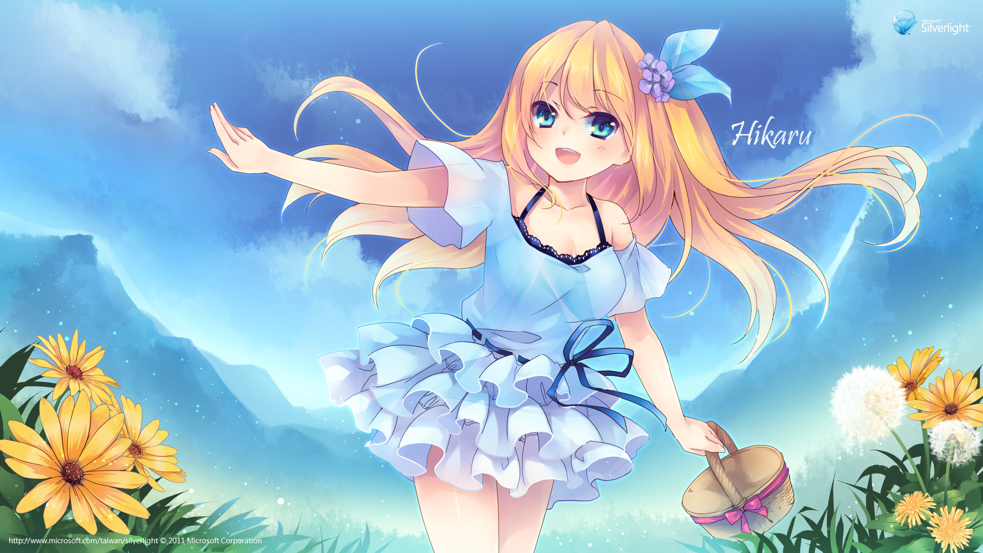 Flowers clouds sky hot Beauty cute Anime HD Wallpaper