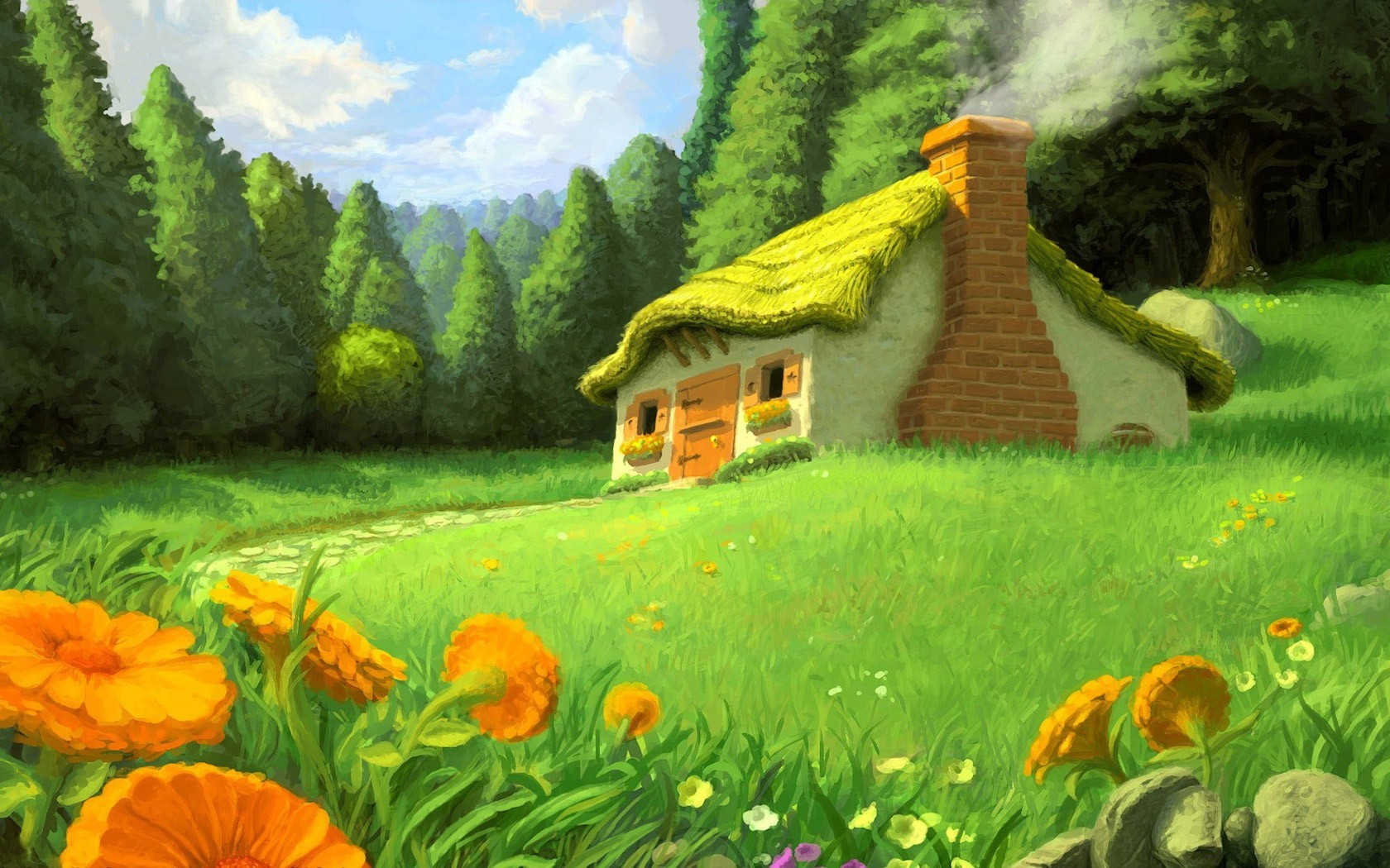Flowers smoke meadows Garden cottage HD Wallpaper