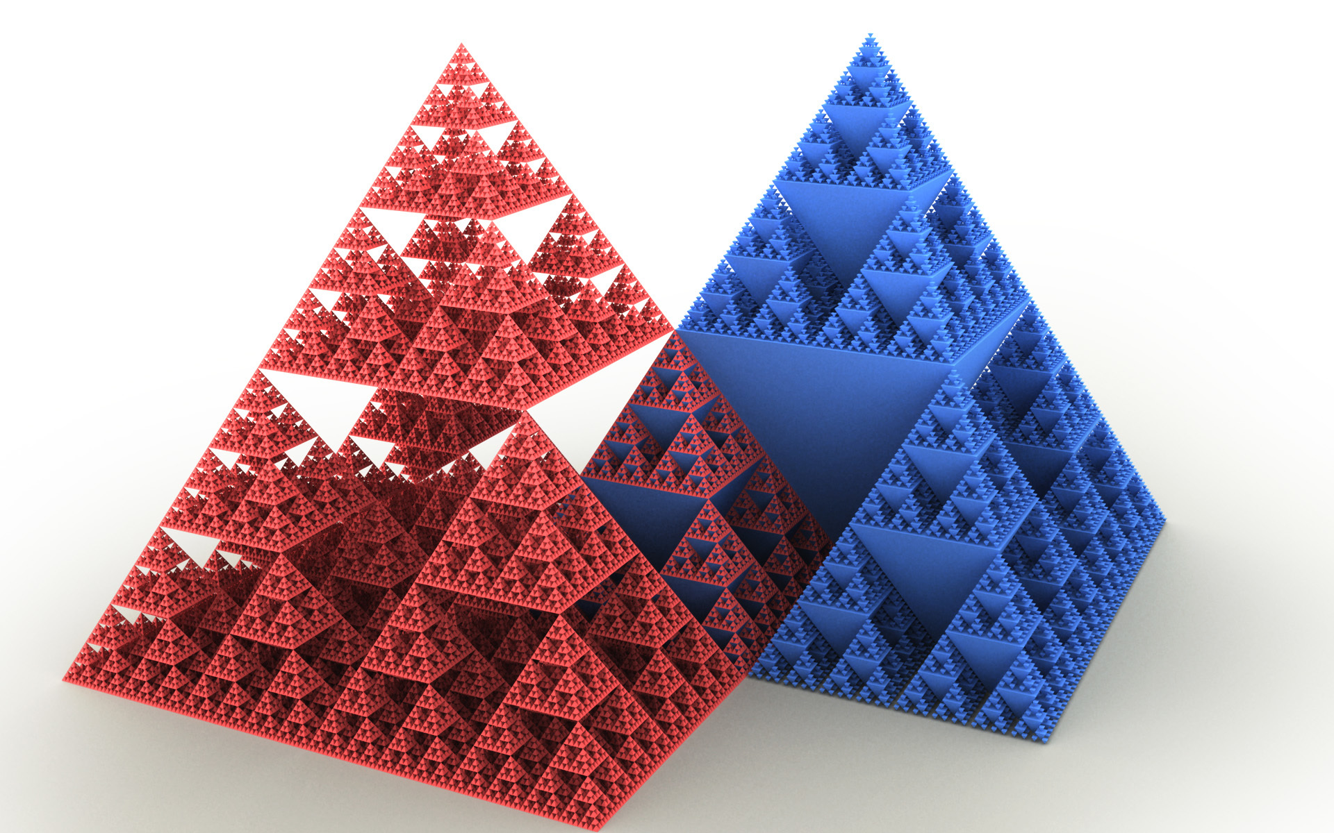 Fractals mathematics pyramids sponge HD Wallpaper