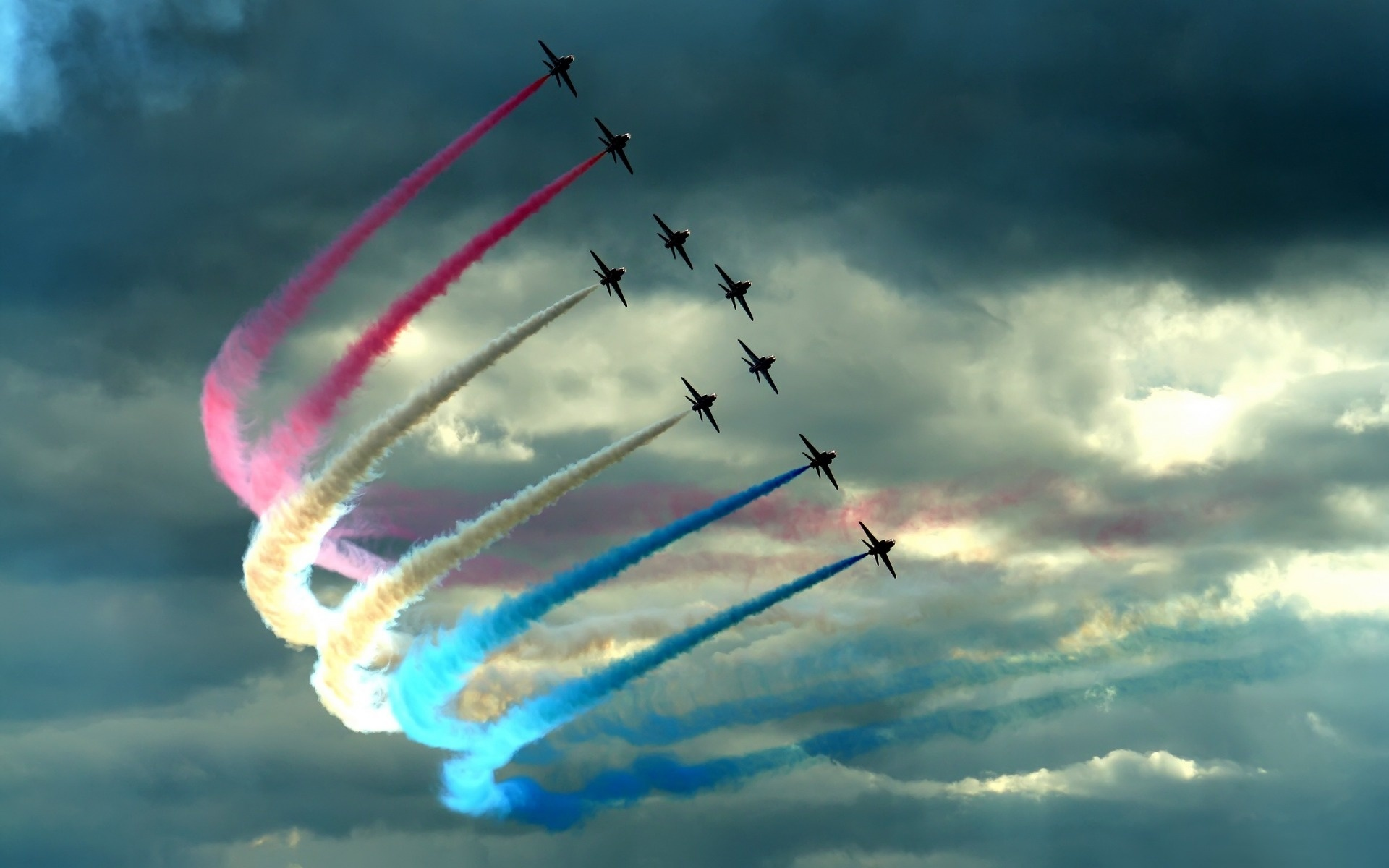 France contrails Stunt Aircraft HD Wallpaper