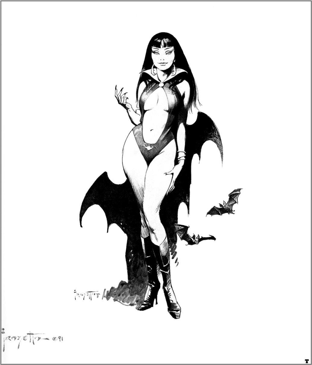 frank Frazetta bw Vampirella HD Wallpaper