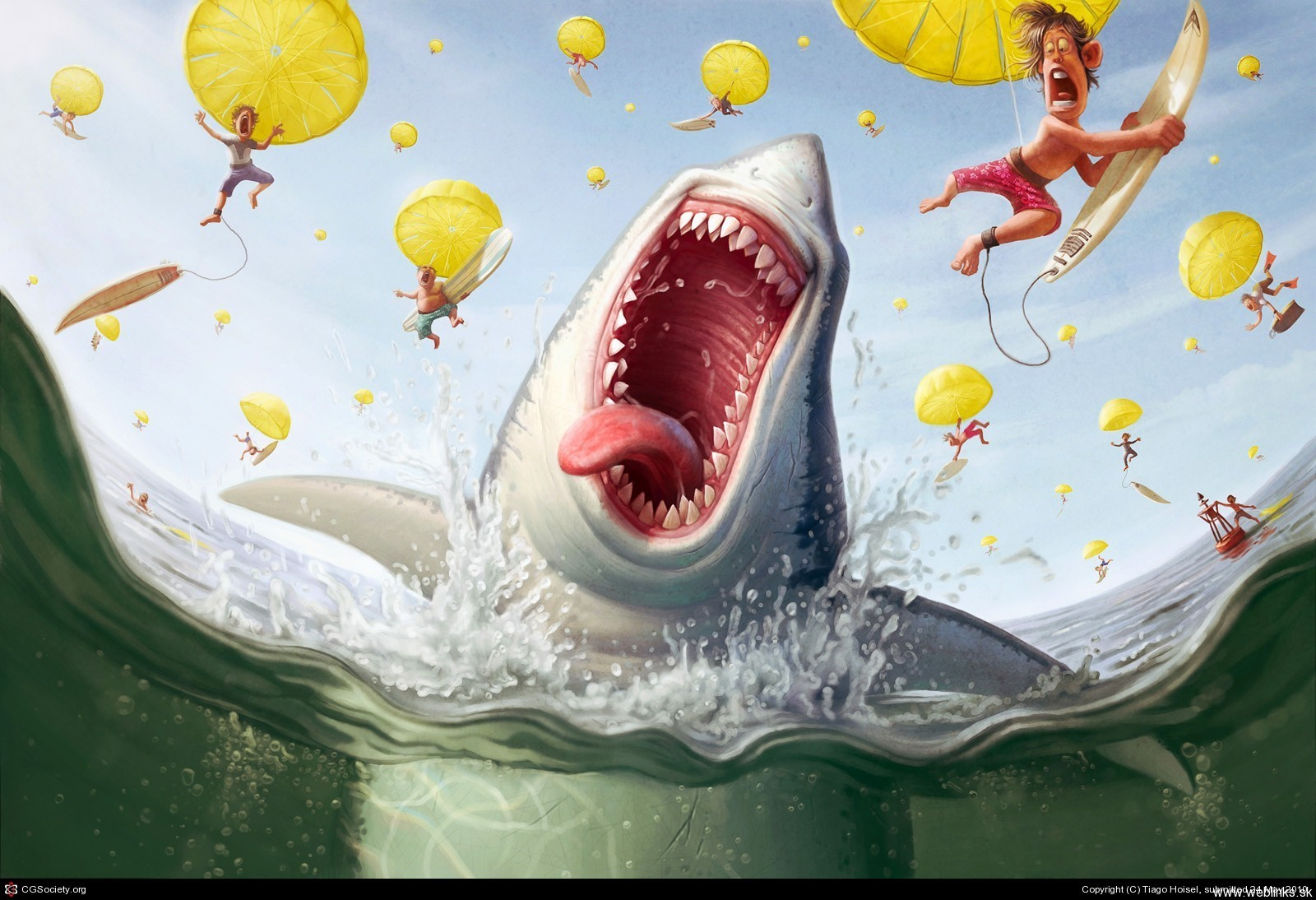 funny cartoonish Sharks surfboards HD Wallpaper