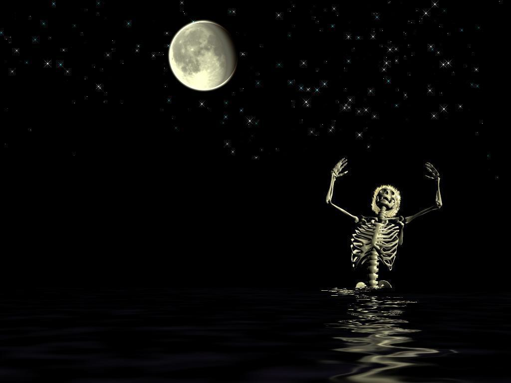 funny swimming skeleton night
