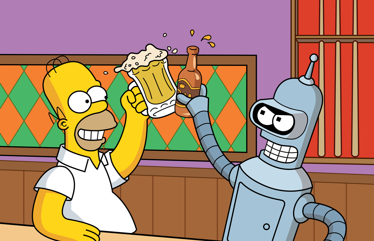 Futurama Bender Homer simpson HD Wallpaper