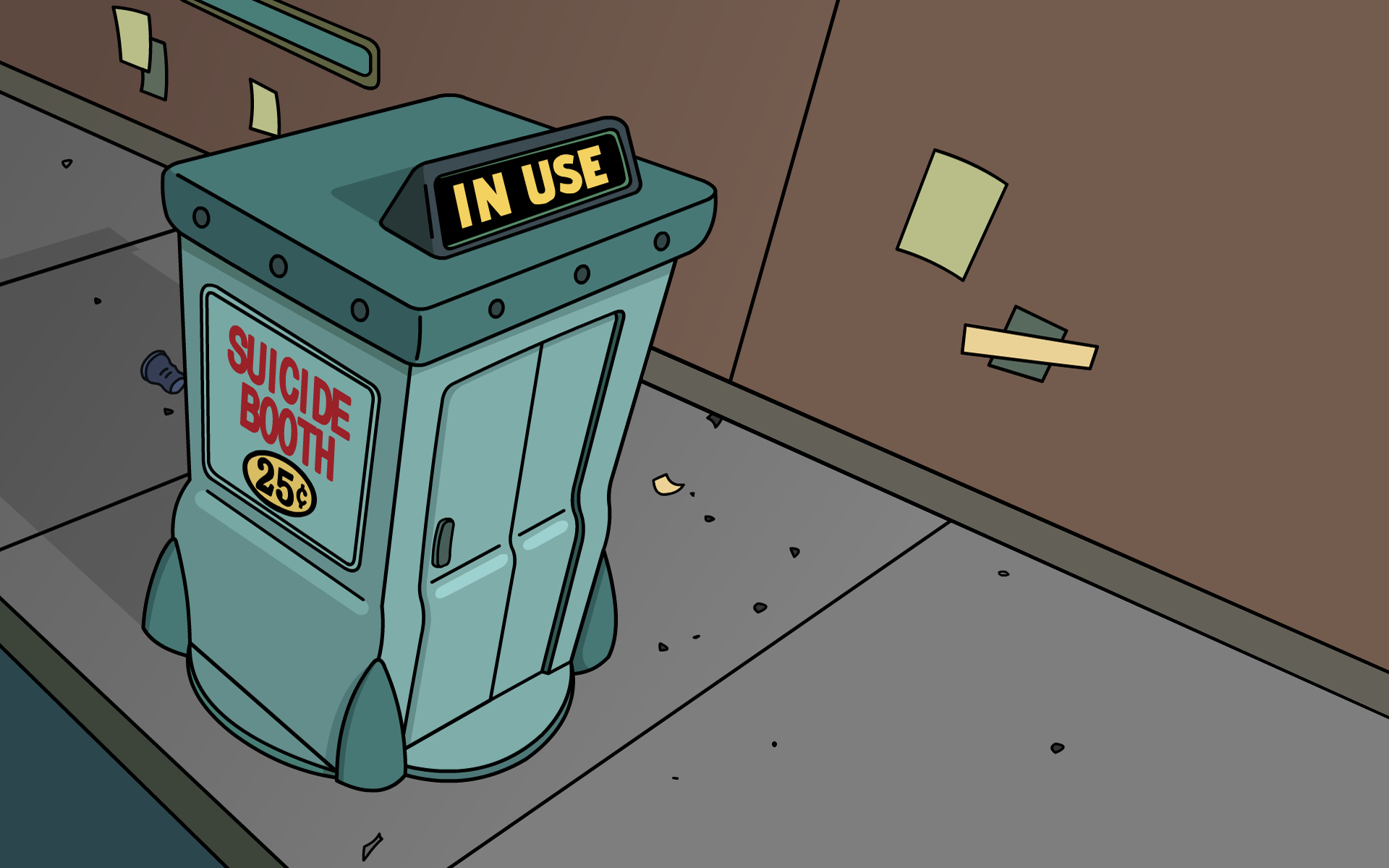 Futurama suicide Phone booth HD Wallpaper