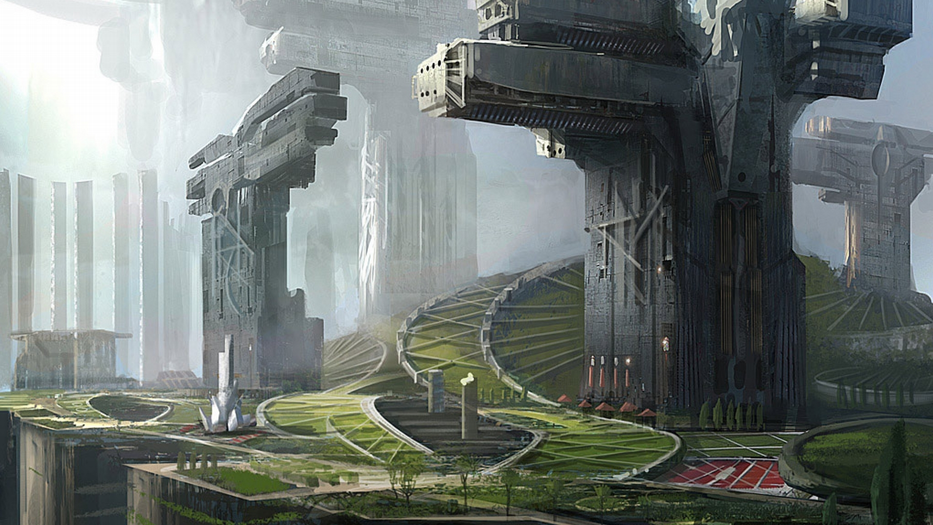 futuristic artwork tracks HD Wallpaper
