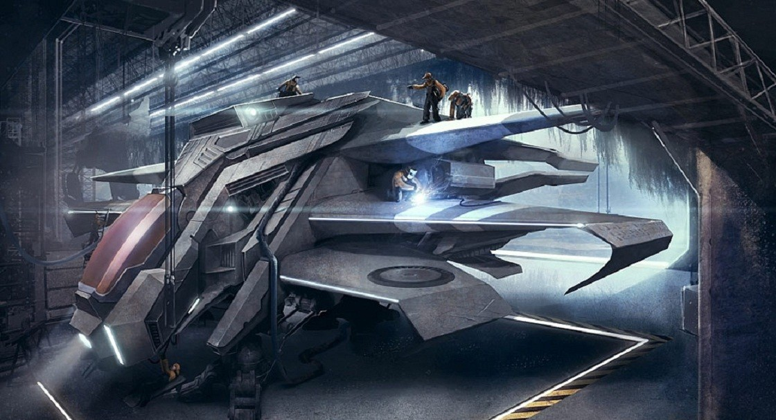 futuristic spaceships concept art HD Wallpaper