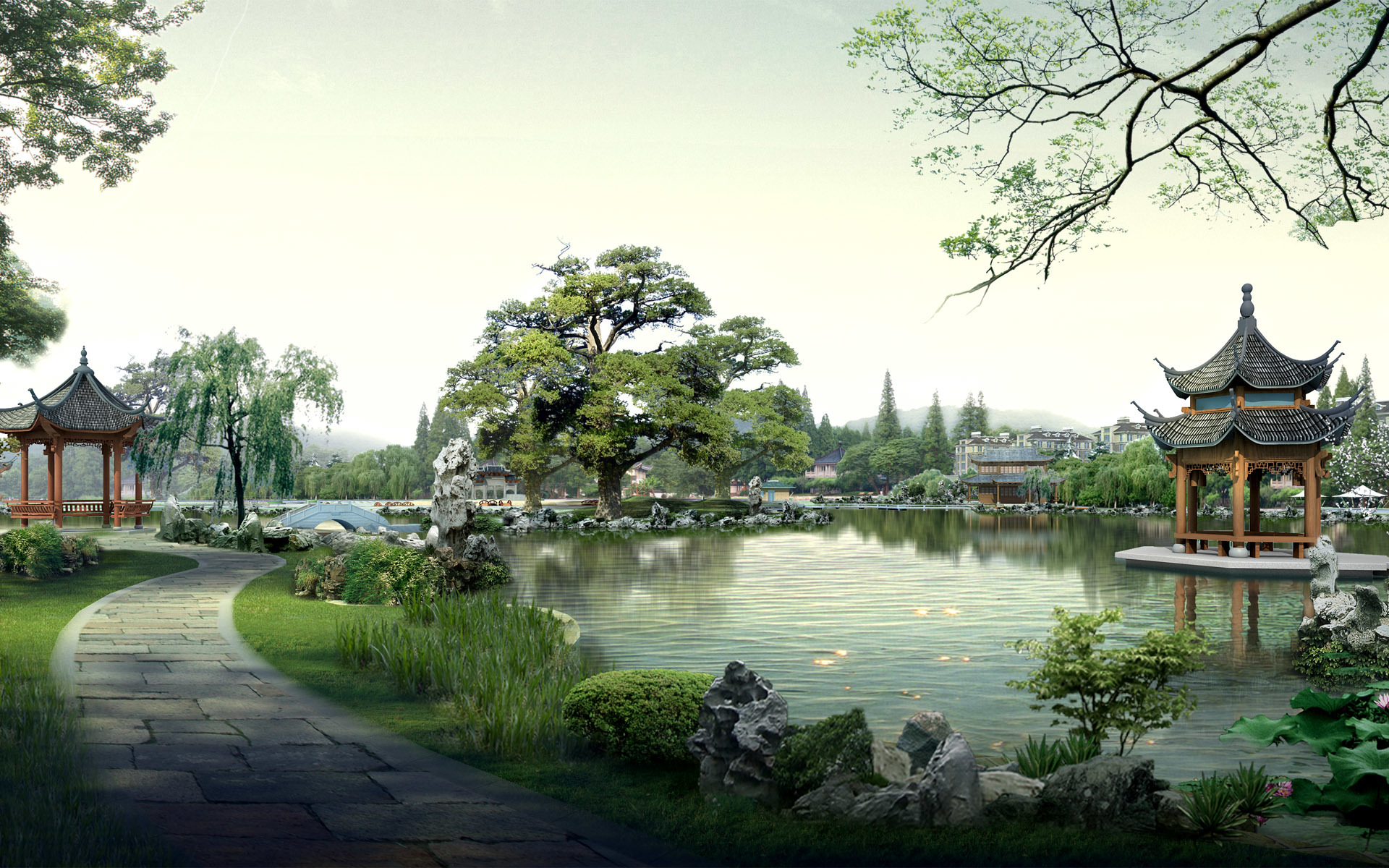 Gardens Photoshop Lake China HD Wallpaper