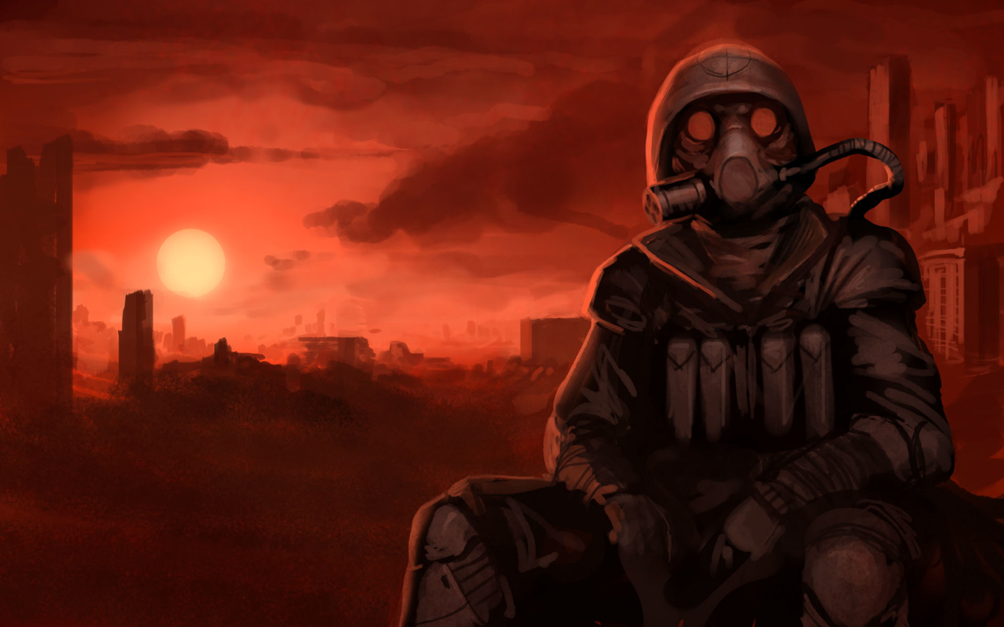 gas masks artwork post HD Wallpaper