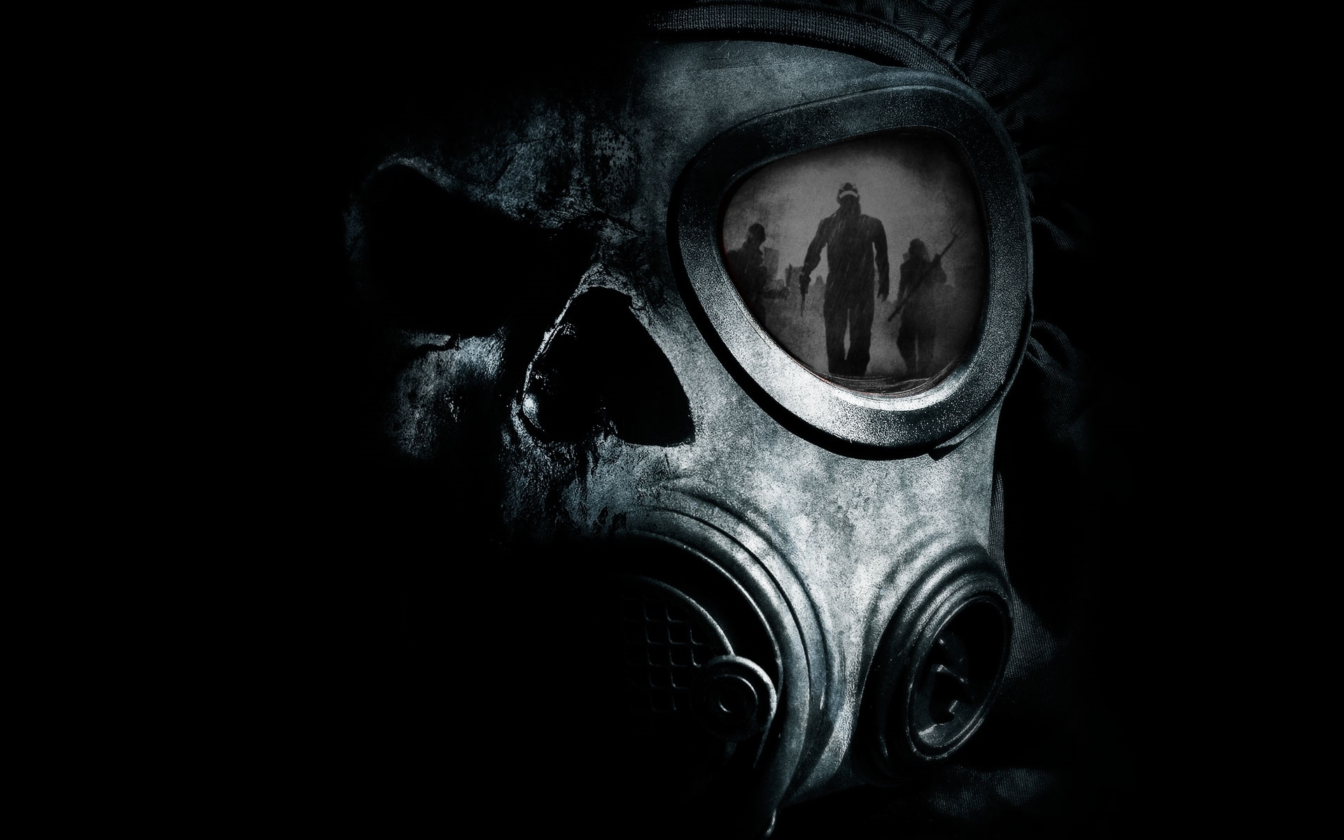 gas masks reflections skulls HD Wallpaper