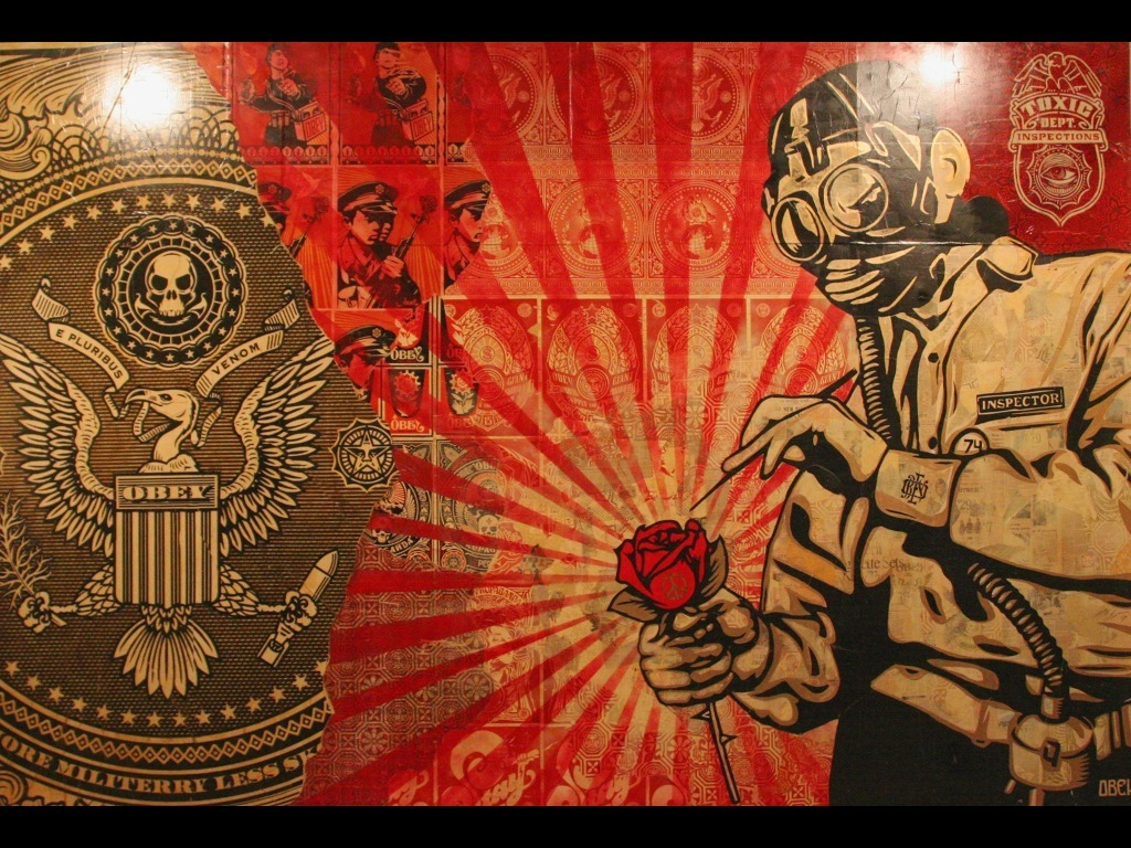 gas masks street art HD Wallpaper