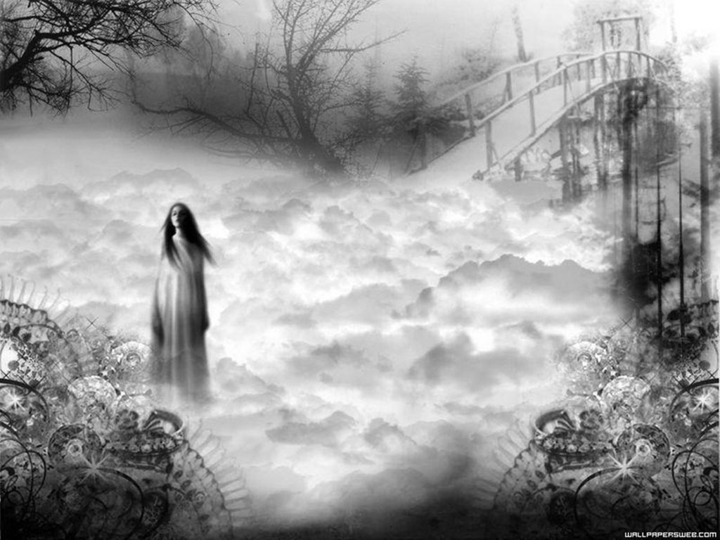 ghost girl clouds lovely HD Wallpaper