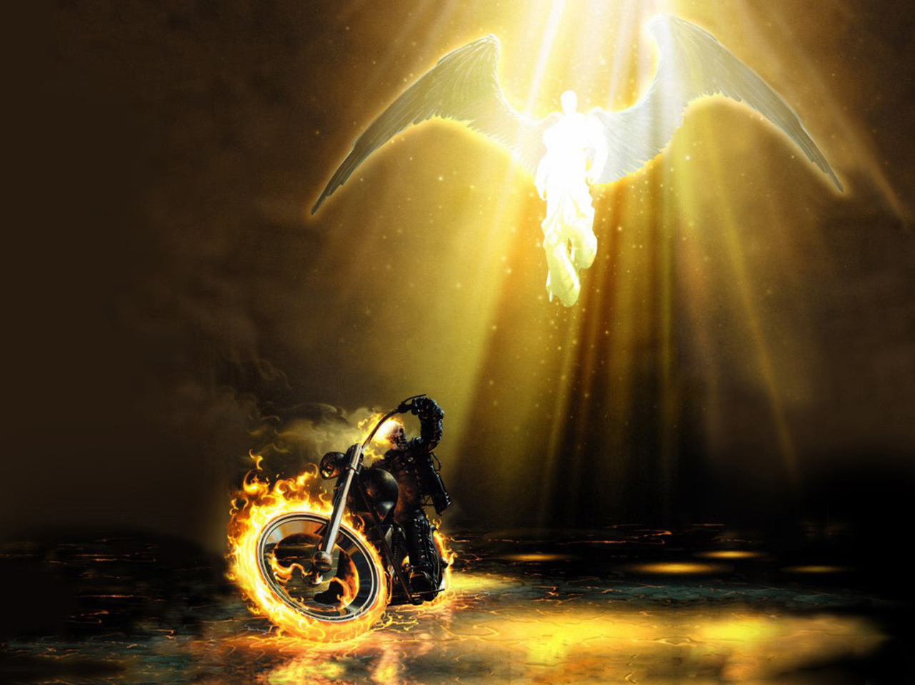 ghost rider and angel HD Wallpaper