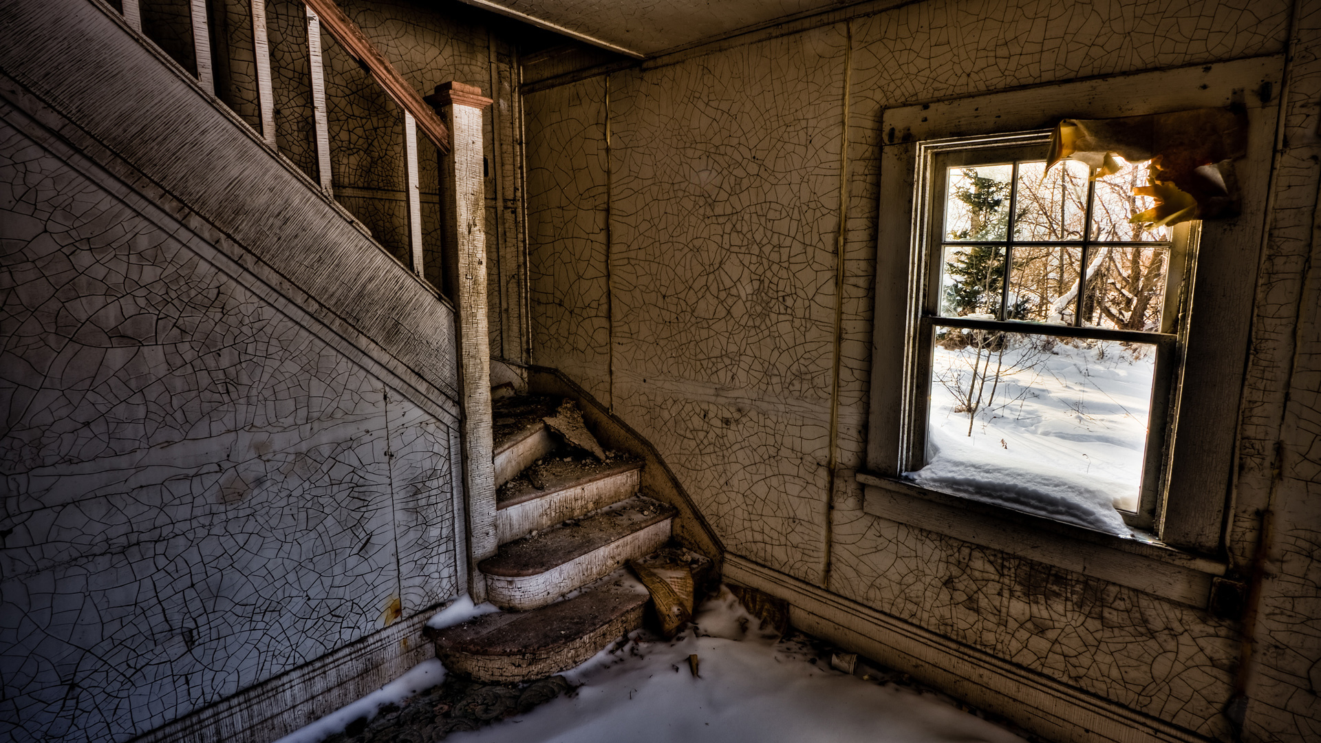 ghostly staircase abandoned House HD Wallpaper