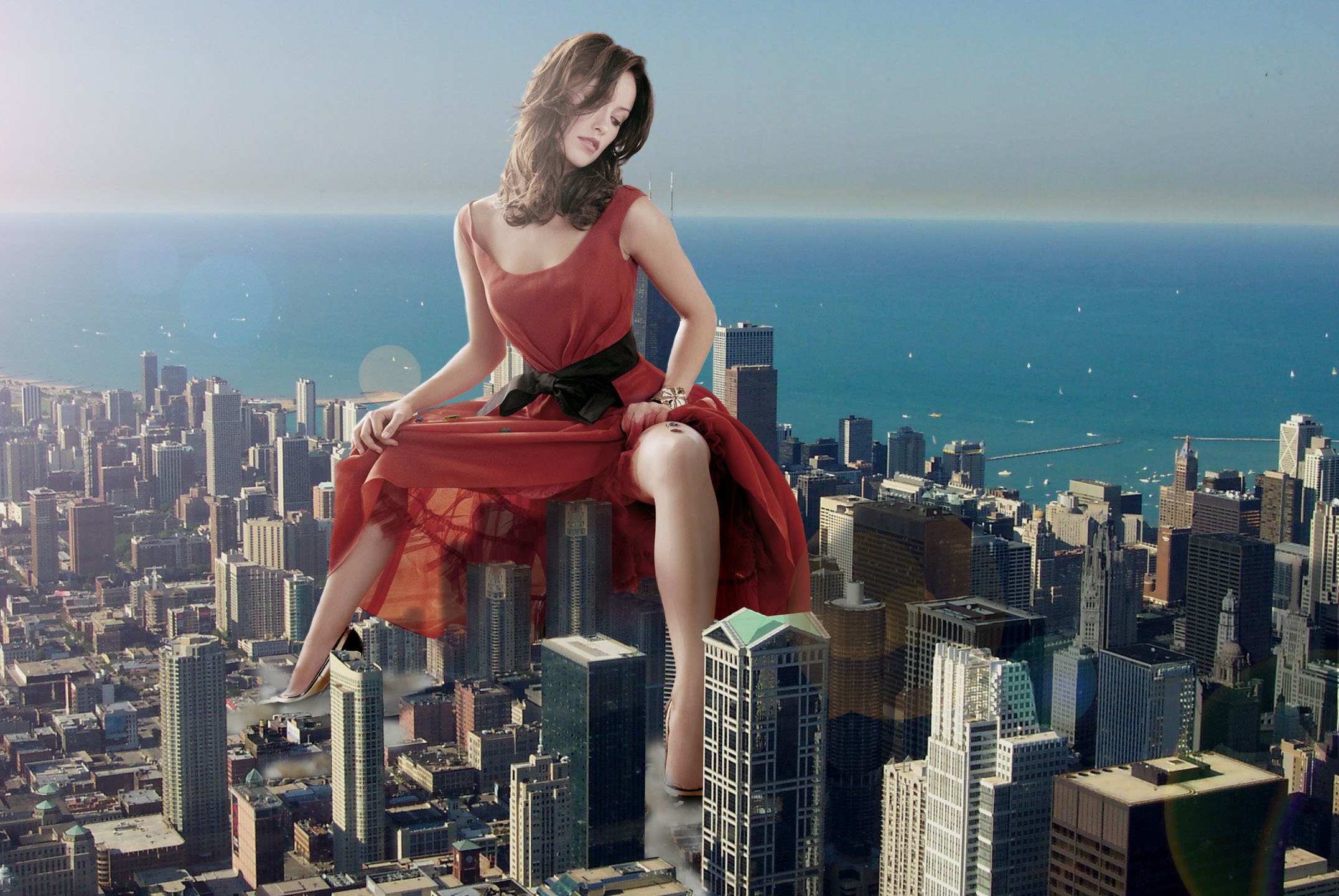 giant woman Photo manipulation HD Wallpaper